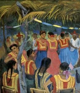Fiesta en Juchitan, óleo sobre tela, 76x91 cm.