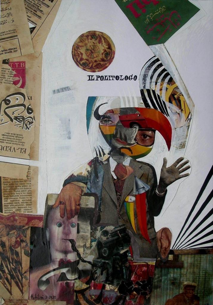 Sergio Michilini, 1980, IL POLITOLOGO, collage cm.49x34
