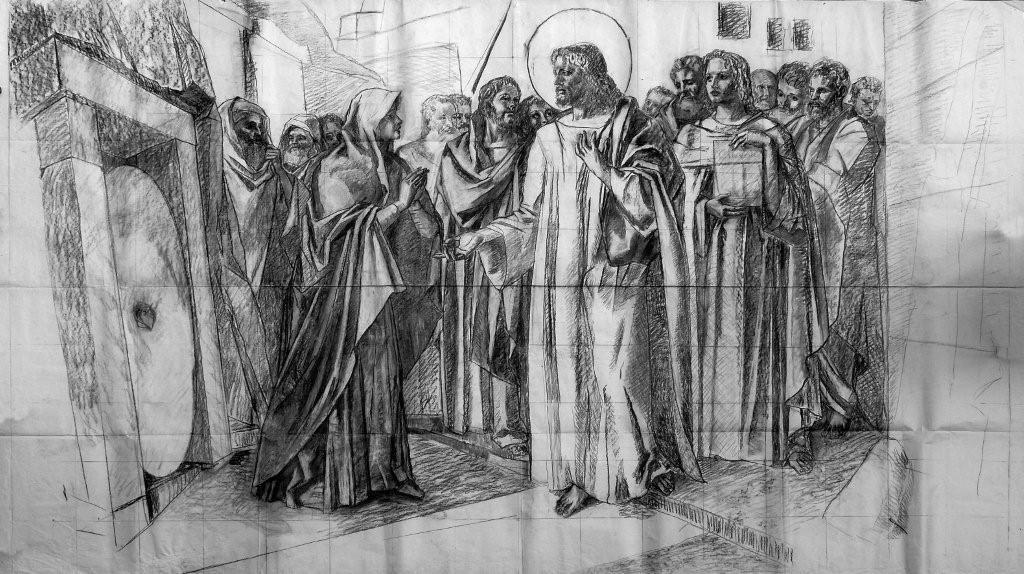 Gajoni:CARTONE INEDITO per l'Affresco nella Chiesa SS.Annunziata di Sturla-Genova