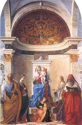 Madonna con il Bambino, santa Caterina, sant'Orsola, san Pietro, san Gerolamo e angelo musicante, 1505, cm.402x273, Chiesa di San Zaccaria, Venezia