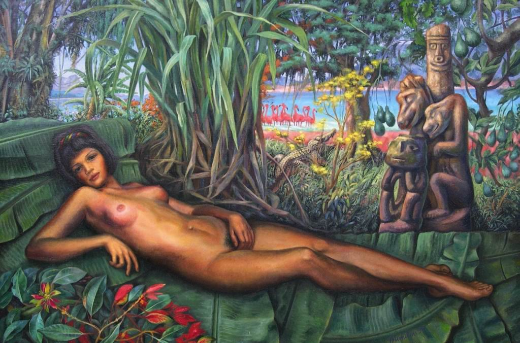 MICHILINI 1996, La Venere Centroamericana, olio su tela, cm111x166
