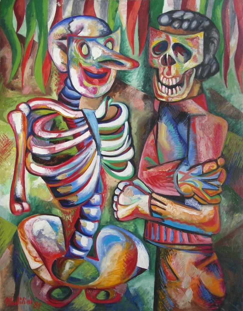 1981- DUE MASCHERE PATRIOTTICHE, olio su tela, cm.90x70