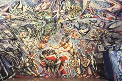 1982-1985  LA RESURREZIONE, murale absidale, Chiesa Parrocchiale del Barrio Riguero, Managua, Nicaragua, Centroamerica