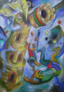 I Tarocchi, LA TORRE XVI, olio su tela, cm.72x50