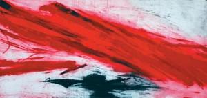 Salvatore Lovaglio, STRISCIA DI FUOCO, 2007, acquatinta e carborundum,cm.69x140