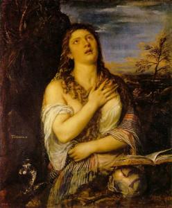 Maddalena scapigliata (o Penitente),1565, olio su tela, cm 119x98, Ermitage, S. Pietroburgo.