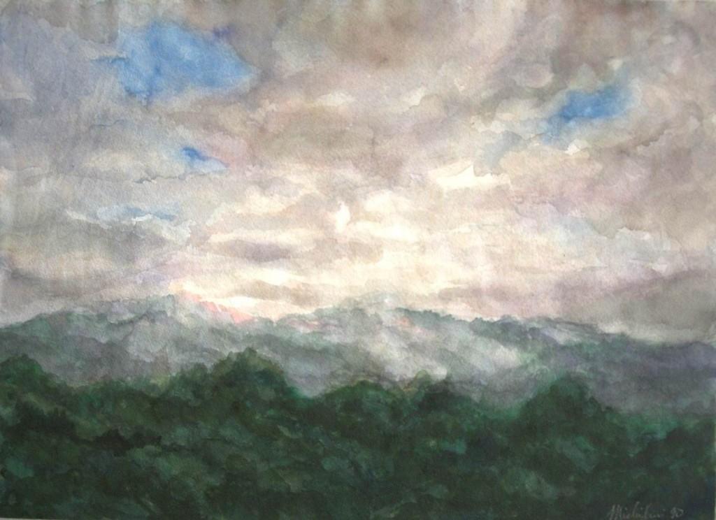 """Sergio Michilini, """"WASLALA"""", 1990, acquerello, cm.28x38"""