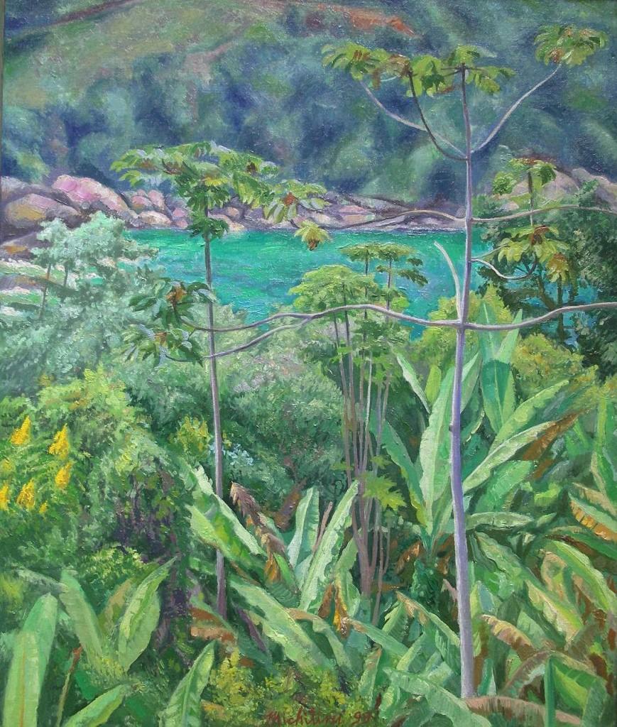 Sergio Michilini, IMBAUBA EN PONTA NEGRA, 1999, olio su tela, cm.60x50