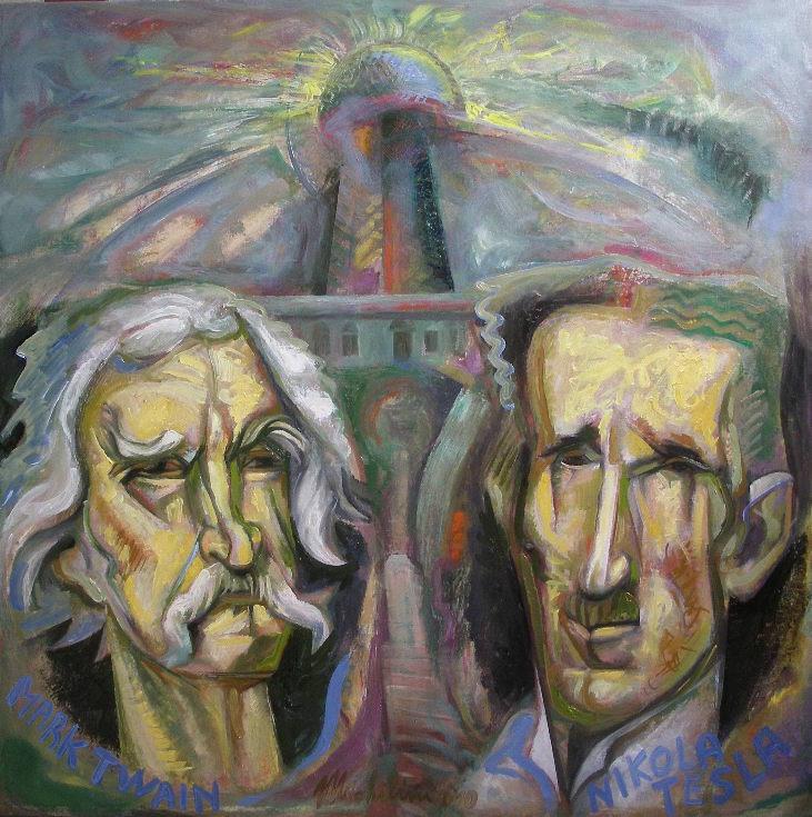 Sergio Michilini, NIKOLA TESLA E MARK TWAIN, 2010, olio su tela di lino preparata a mano, cm.80x80