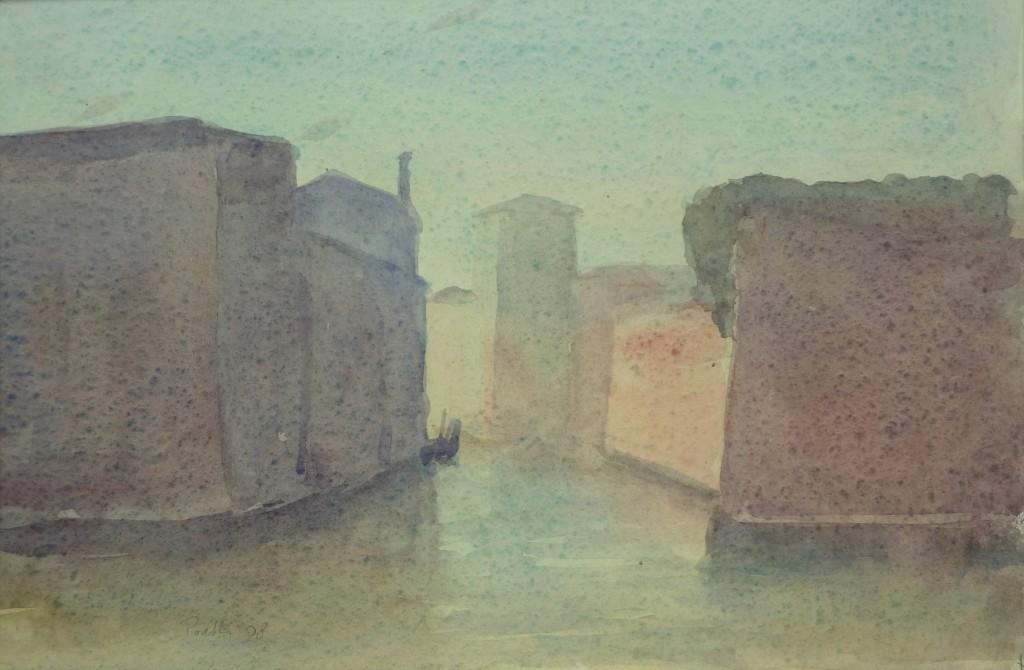 E. Poretti, Venezia-Mura dell'Arsenale davanti a San Pietro, Acquerello su carta