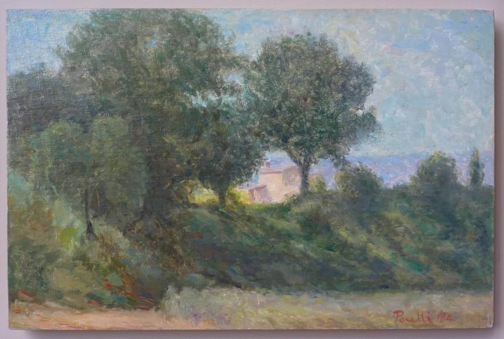 E. Poretti, Casa tra gli alberi campagna a Montepulciano, olio su tela