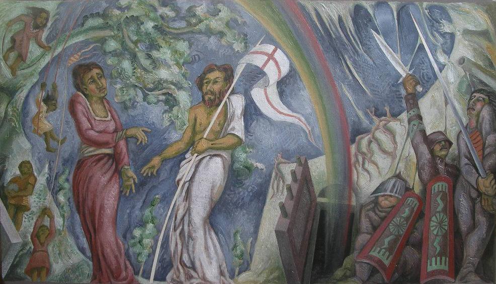 LA RESURREZIONE, bozzetto per il trittico murale nella Chiesa Parrocchiale di San Martino al Tagliamento, Pordenone, 2009, olio su tela, cm60x80