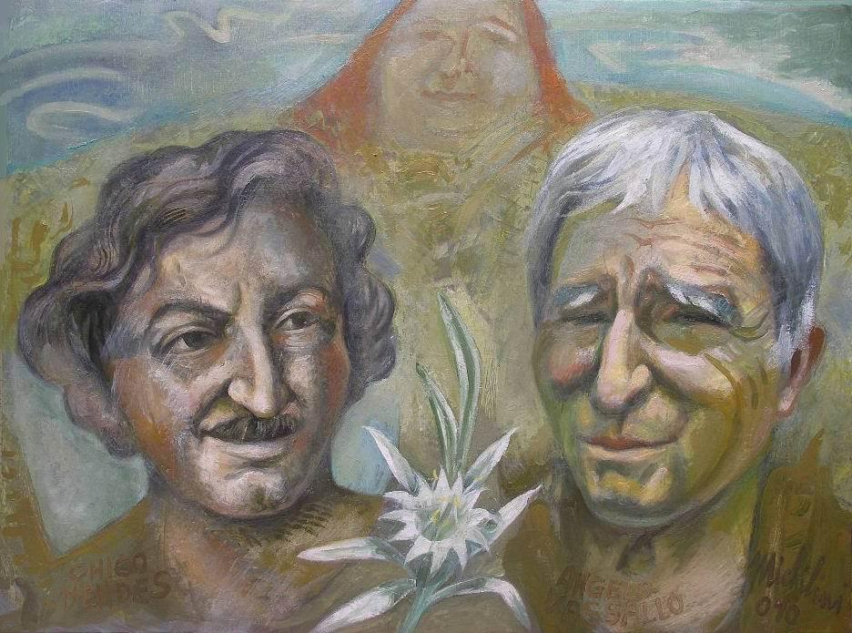 """Sergio Michilini, """"I MARTIRI CHICO MENDEZ E ANGELO VASSALLO"""", 2010, olio su tela, cm.60x80"""