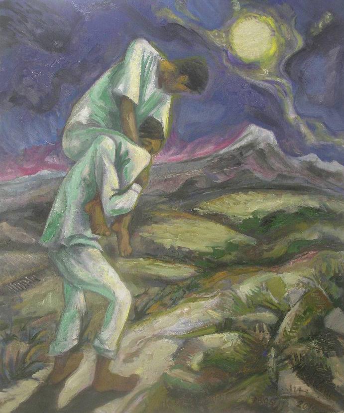 Sergio Michilini,  NO OYES LADRAR LOS PERROS, 2010, olio su tela, cm.72x60