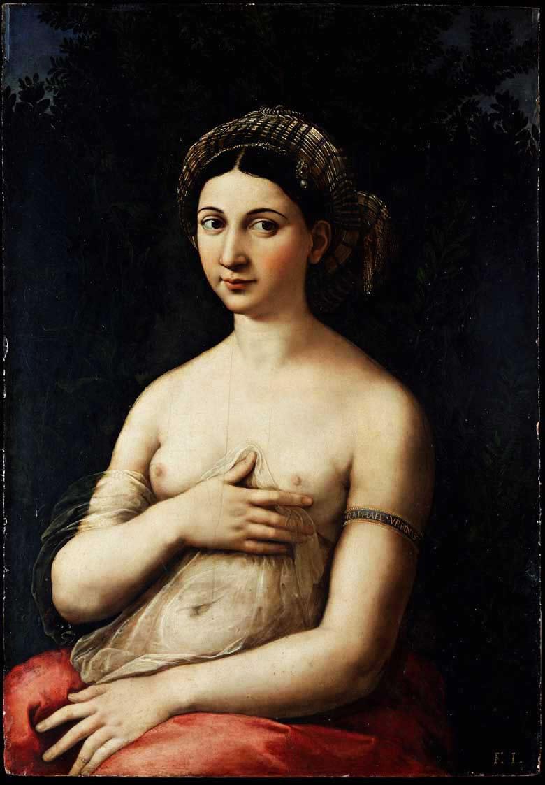 Raffaello Sanzio, La Fornarina, 1518-19 Olio su tavola; cm. 85x60 Roma, Galleria Nazionale d'Arte Antica
