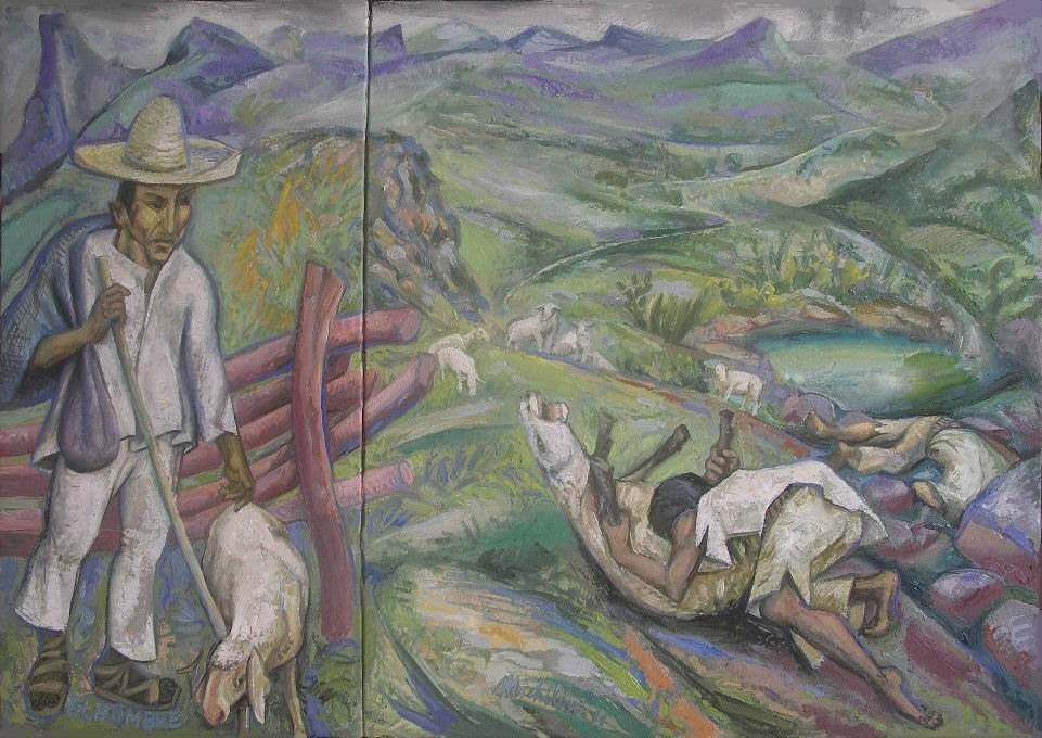 4-sergio-michilini-el-hombre-juan-rulfo-el-llano-en-llamas-2011-diptico-oleo-sobre-tela-de-lino-cm60x85