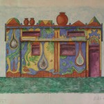 1996, CABAÑA DEL AGUA, trasformazione scenografica di casetta del Progetto CITA INRH-CAMAGUEY, CUBA, cm.32x45