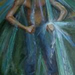 2007, CASCATA NEL CRUCERO-PAPE MOE, Nicaragua, olio su tela, cm.80x40