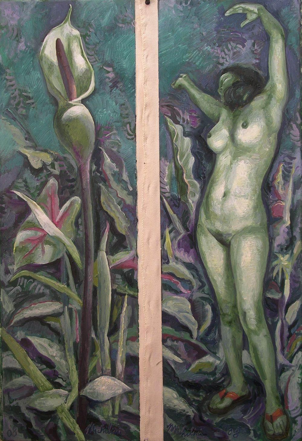 Sergio Michilini,2008, Dittico FIORE E NUDO NELL'ACQUA, olio su tela, cm.80x50