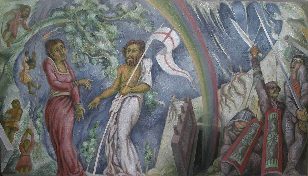 2009- LA RESURREZIONE, bozzetto esecutivo, olio su tela, cm60x80