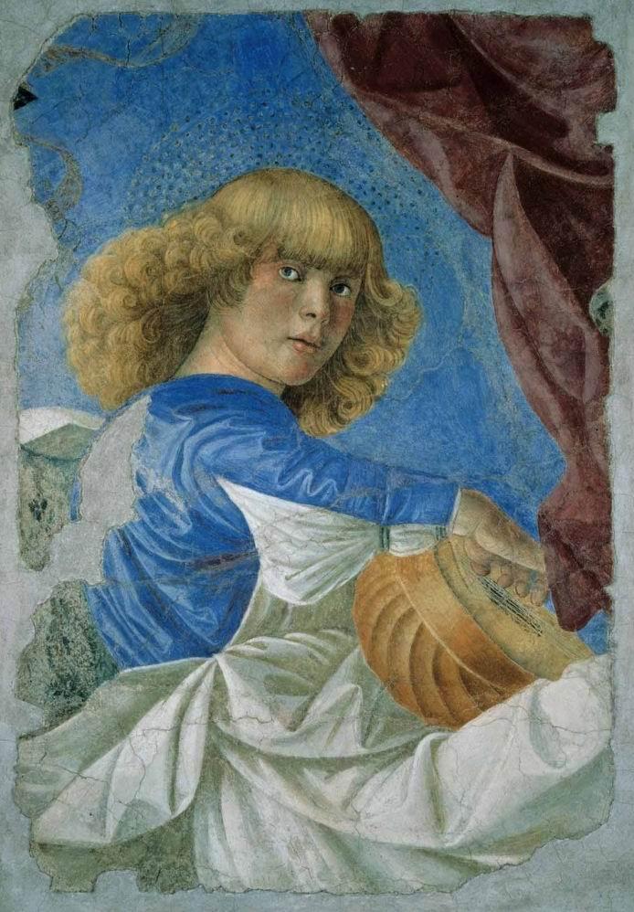 Pittura e scultura 2-Melozzo-da-Forl%C3%AC-Angelo-con-liuto-dagli-affreschi-staccati-degli-Angeli-Musicanti-ca.-1472-Pinacoteca-vaticana-Citt%C3%A0-del-Vaticano.