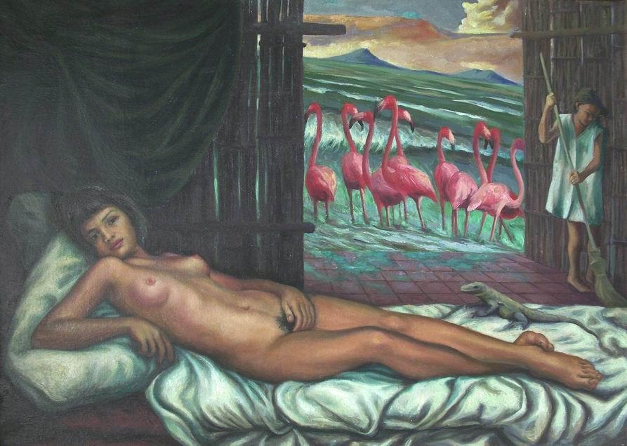 """Sergio Michilini, estudio para """"LA VENUS NICARAGUENSE con la isla de Ometepe"""", 1996, oleo sobre tela, cm.50x70"""