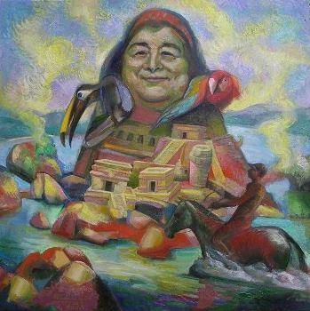 13 – MERCEDES SOSA, 2009, óleo-tela, cm.80×80 $ 10,000 USD