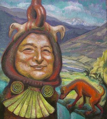 14 – MERCEDES SOSA DE LAS ANDES, 2009, óleo-tela, cm.55×50 $ 4,000 USD
