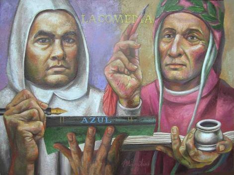 """15 - RUBEN DARIO Y DANTE ALIGHIERI"""", 2013, óleo-tela, cm.60×80 $ 10,000 USD"""