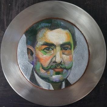 17 - RETRATO PLATO DE RUBEN DARIO, 2015, óleo-tela, cm.31x31 $ 7,000 USD