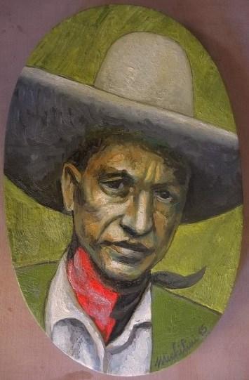 19 – SANDINO,PAÑUELO ROJINEGRO, 2015, óleo-tela, cm. 39×25 $ 5,000 USD