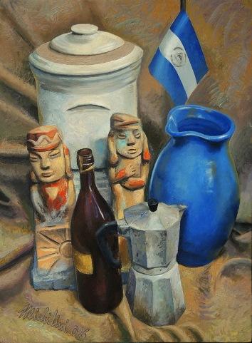 2 - BODEGON PATRIOTICO, 2016, óleo-MDF, cm.60×45 $ 8,000 USD