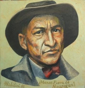 20 - MANOS FUERA DE NICARAGUA, 2016, óleo-tela, cm. 47x45 $ 7,000 USD
