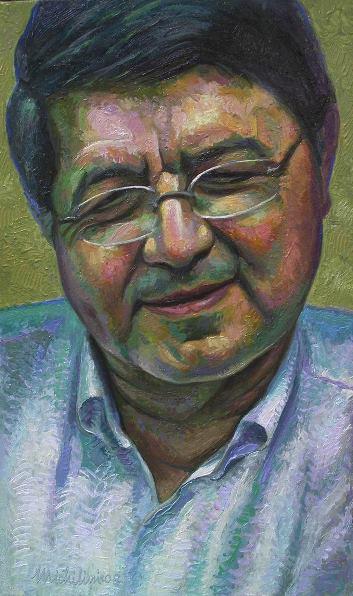 27 - RETRATO DE SERGIO RAMIREZ, 2008, óleo-tela, cm.60×35 $ 12,000 USD