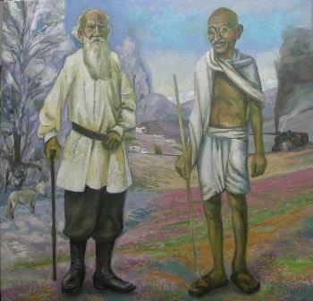 30 – TOLSTOJ Y GANDHI, 2012, óleo-tela, cm.70×73 $ 10,000 USD