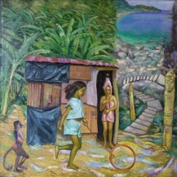31- LA CASA DI CARTONE, 2006, óleo-tela, cm.80x80 $ 8,000 USD