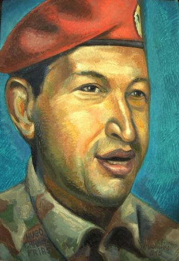 39 - HUGO CHAVEZ JOVEN CON BOINA, 2015, óleo-tela, cm.60×40 $ 3,500 USD