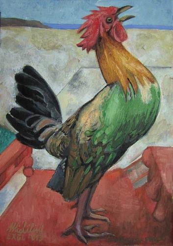 4 – EL GALLO EN LA TARIMA, 2013, óleo-tela, cm.42×30 $ 3,200 USD