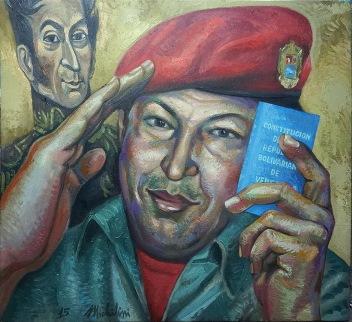 40- HUGO CHAVEZ FRIAS, 2015, óleo-tela, cm.74×80 $ 6,000 USD