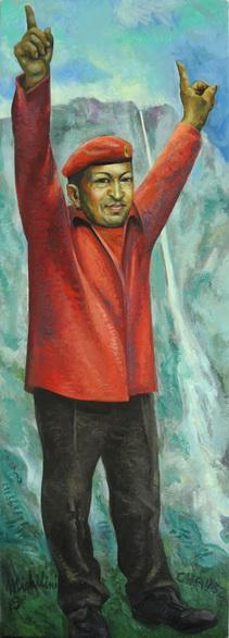 42 - CHAVEZ Y EL SALTO DEL ANGEL, 2015, óleo-tela, cm.122×42 $ 6,000 USD