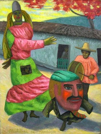 45 - LA GIGANTONA Y EL ENANO CABEZON, 2004, óleo-tela, cm.60x45 $ 3,500 USD