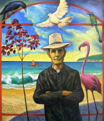 47 - PADRE AZARIAS H. PALLAIS, 2004, óleo-tela, cm.81,5×70,5 $ 5,000 USD