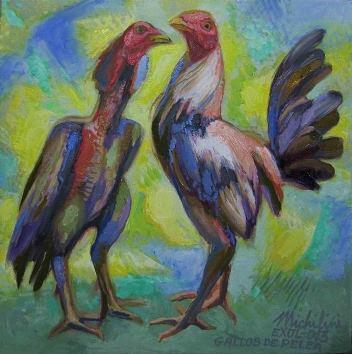 5 – GALLOS DE PELEA, 2013, óleo-tela, cm.42×421 $ 2,000 USD