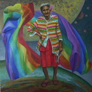 52 - IL TESTAMENTO DI DOÑA SOFIA, 2007, óleo-tela, cm.80x80 $ 5,000 USD
