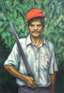 53 - EL JARDINERO DON JULIO, 2004, óleo-tela, cm.80x55 $ 2,500 USD