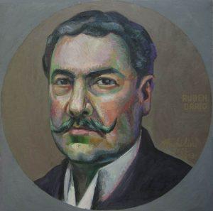 60 - Michilini, PEQUEÑO RETRATO DE RUBEN DARIO, 2013, oleo sobre tela, cm.42×42 USD 3,500