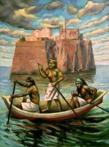 61 - Sergio Michilini, LA ISLA DE LOS ESCLAVOS (L'isola degli schiavi), 2013, oleo sobre tela, cm.70×52 U$D 8,000