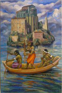 62 - Sergio Michilini, ANACAONA Y LA ISLA DE LOS CATOLICOS, 2014, óleo sobre tela, cm122x80 U$D 12,000