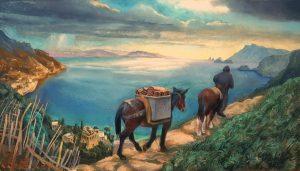 66 - Sergio Michilini, ALLEGORIA INVERNALE DELLA COSTIERA AMALFITANA, 2017, olio su tela, cm.50×90 U$D 8,000