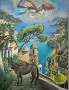 67 - Sergio Michilini, L'ARABA FENICE SOPRA RAVELLO, 2017, olio su tela, cm107x82 U$D 10,000
